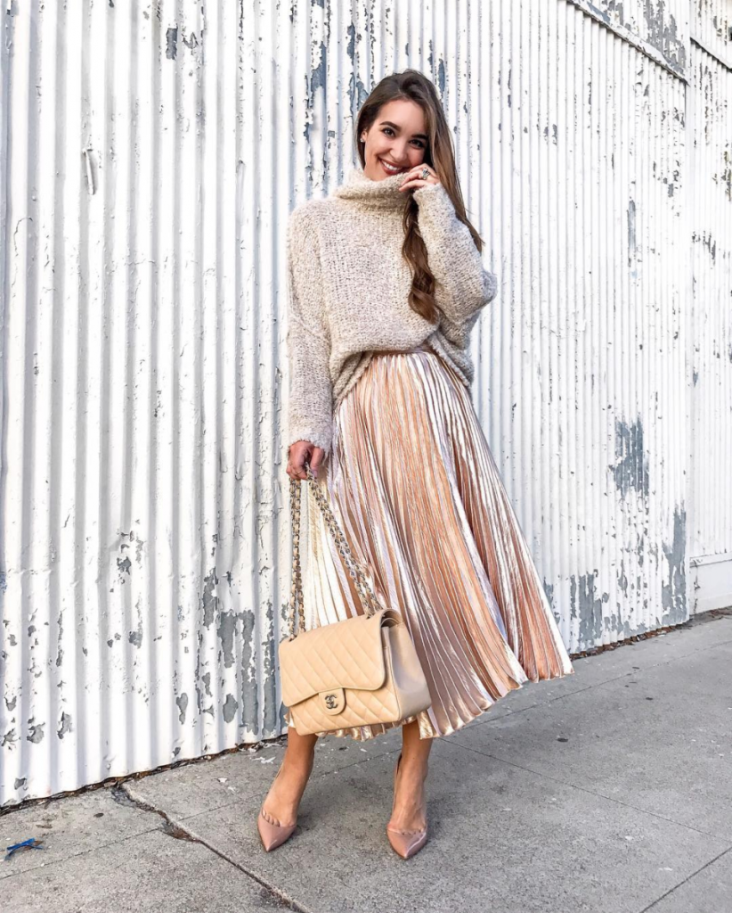 rose gold midi skirt