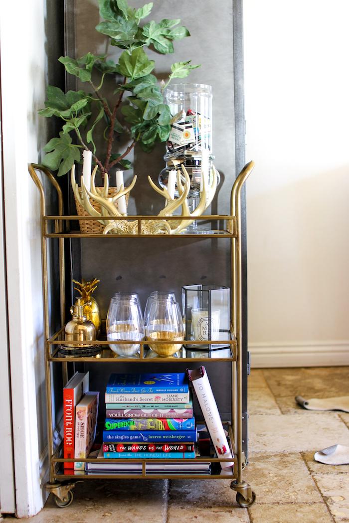 gold bar cart. Black Bedroom Furniture Sets. Home Design Ideas