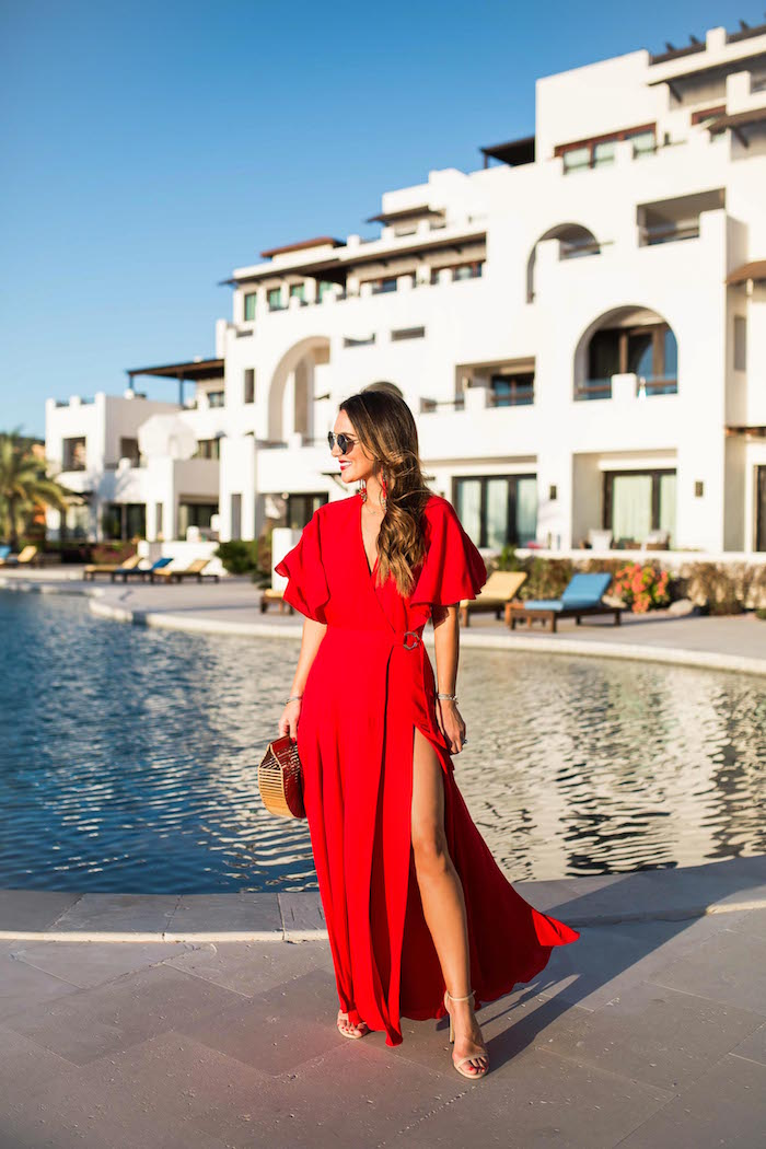 fame and partners red maxi dress