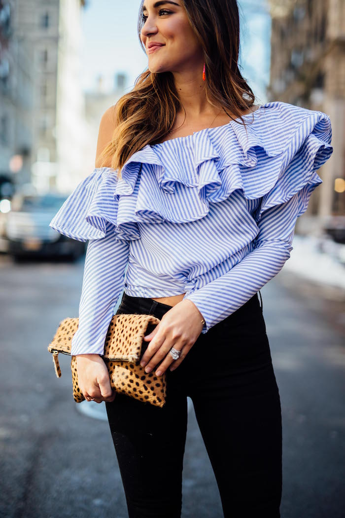 one shoulder blue ruffled top