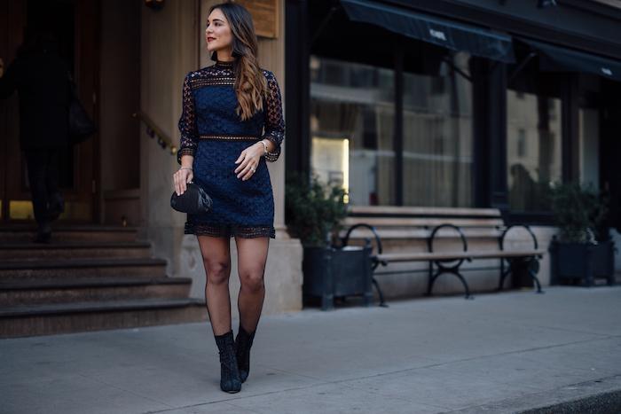 navy and black crochet dress