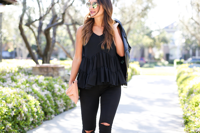styling a black ruffled top