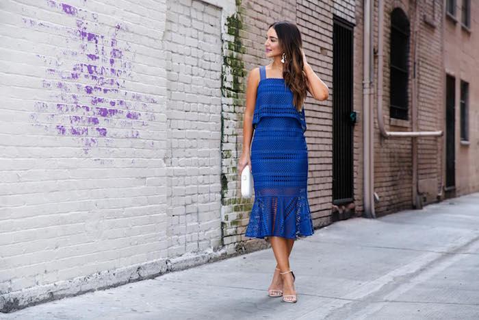 blue shoshanna dress