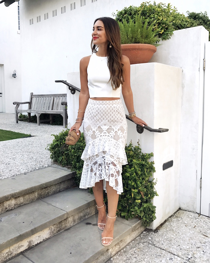tiered white lace skirt