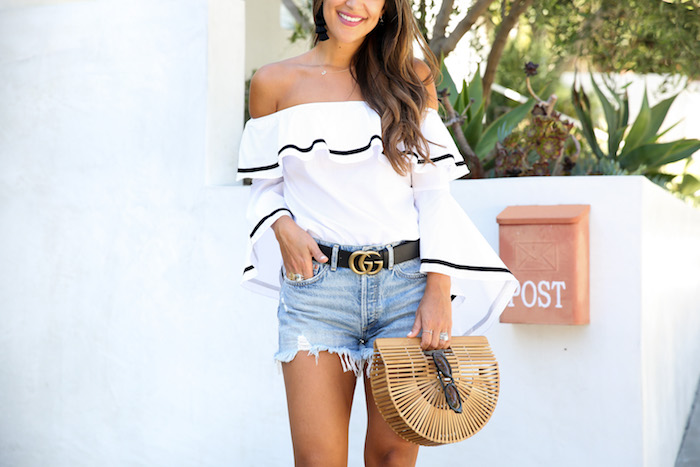 bell sleeved off the shoulder top with shorts