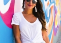 white knotted tee shirt