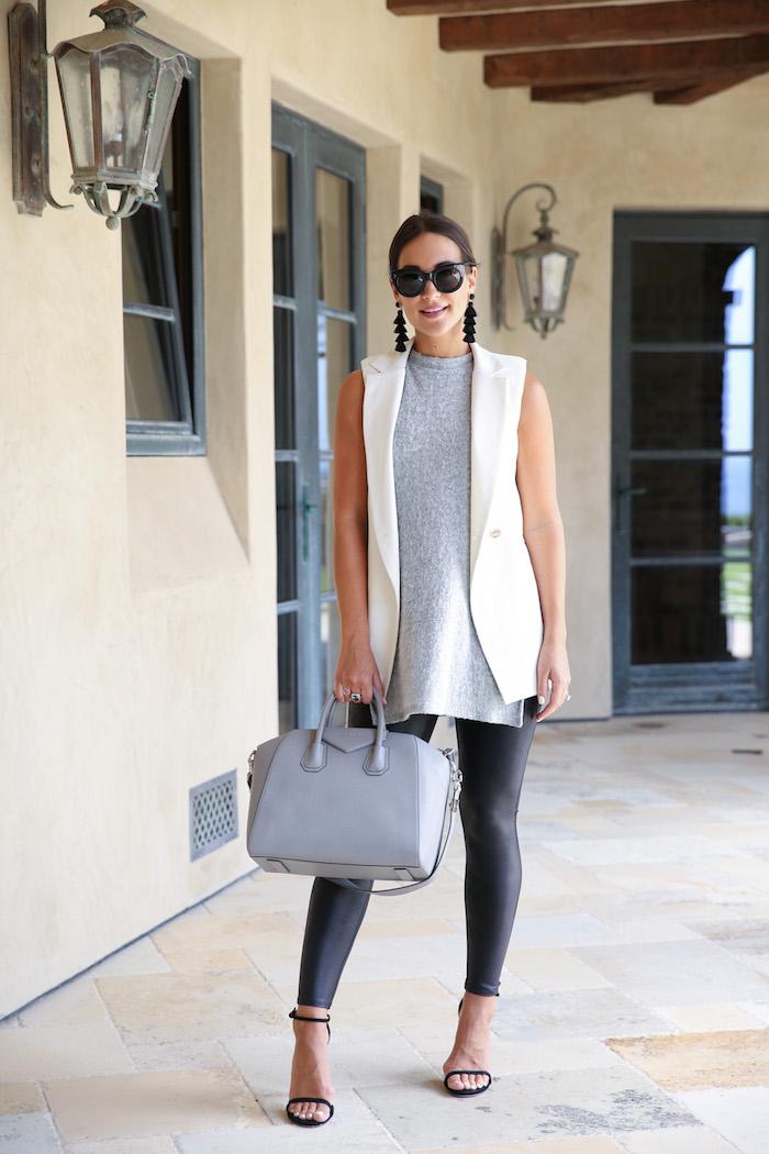 styling a sleeveless white blazer