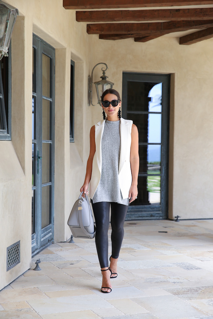 styling faux leather leggings in summer