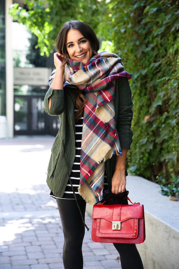 plaid fall poncho