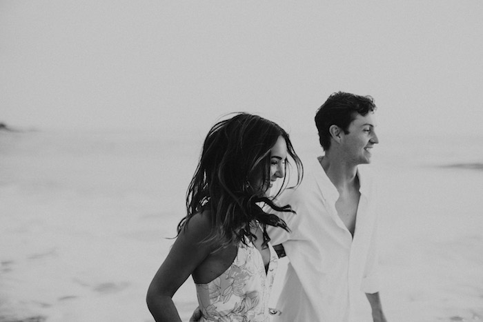 black and white couples beach shoot