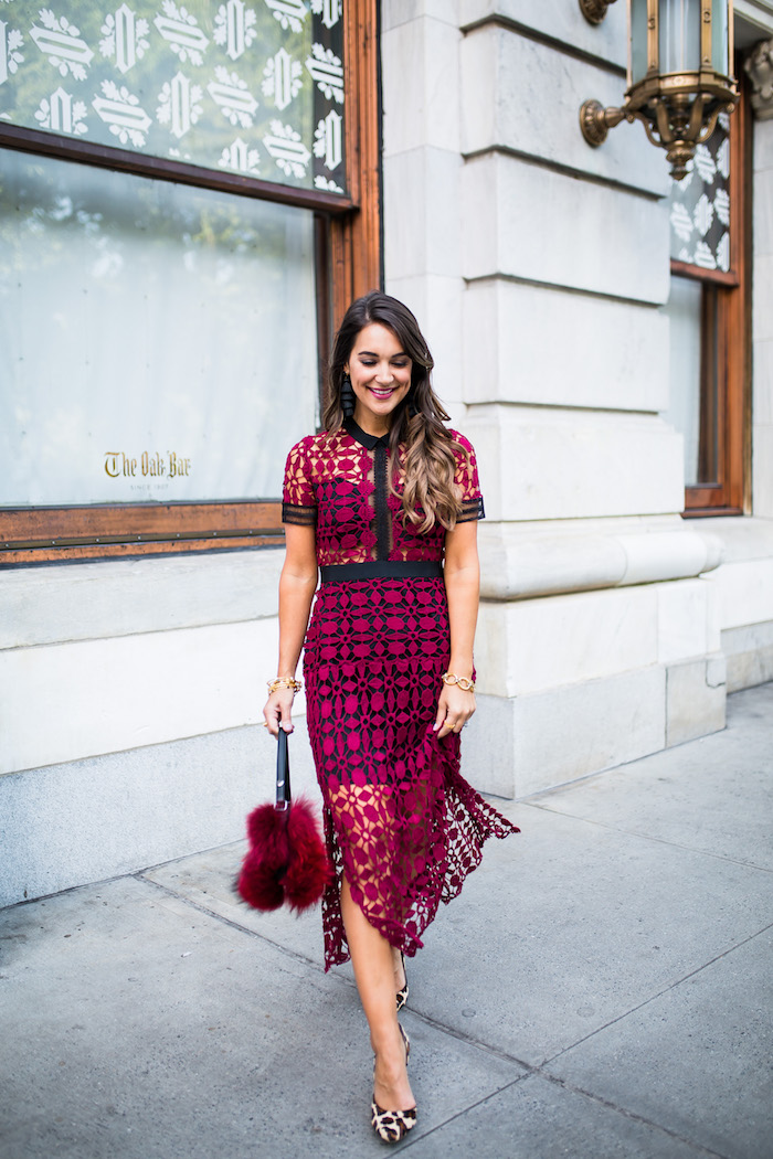 red crochet midi dress