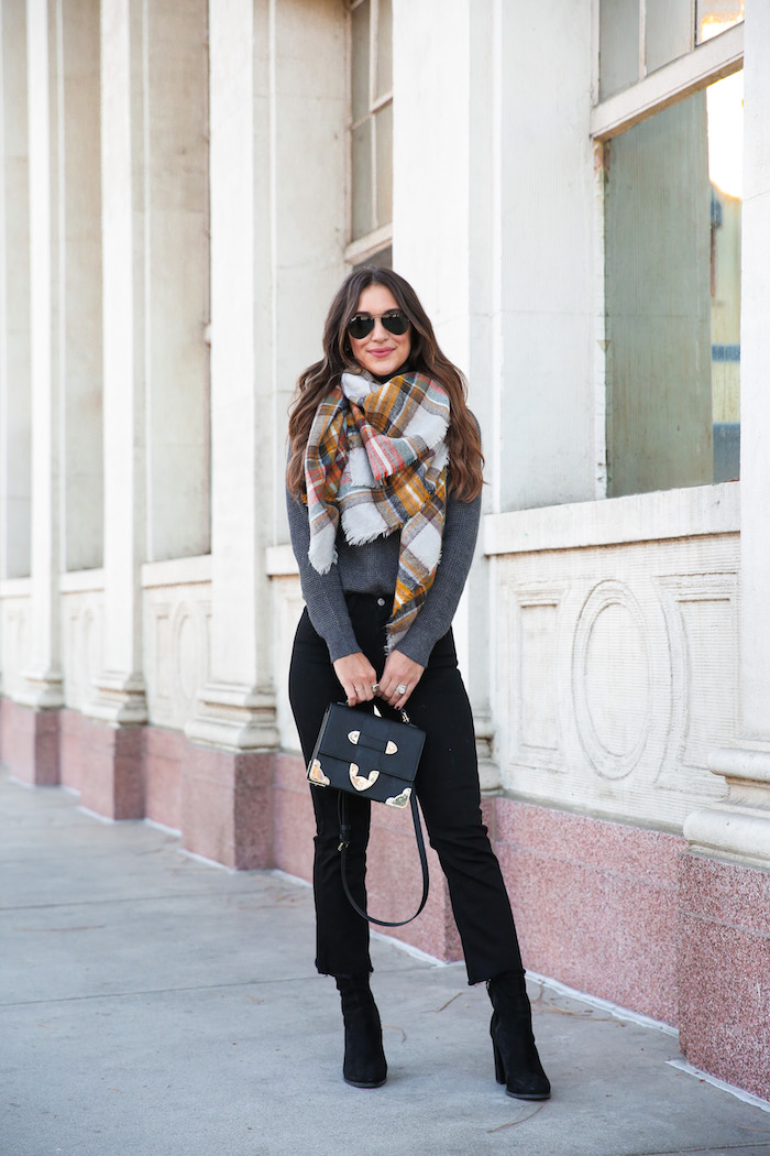 cropped jeans styled for fall