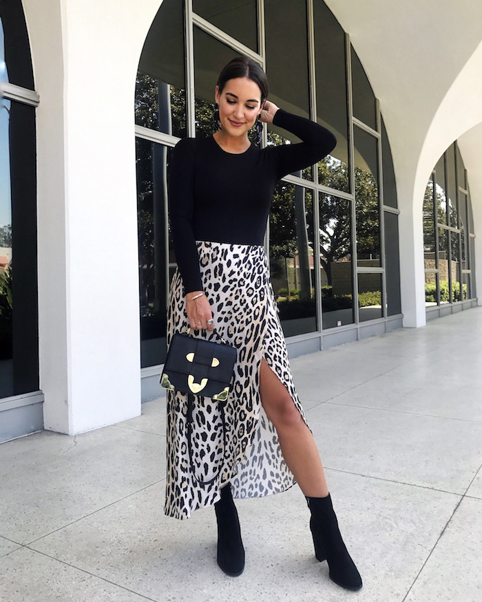 leopard wrap maxi skirt