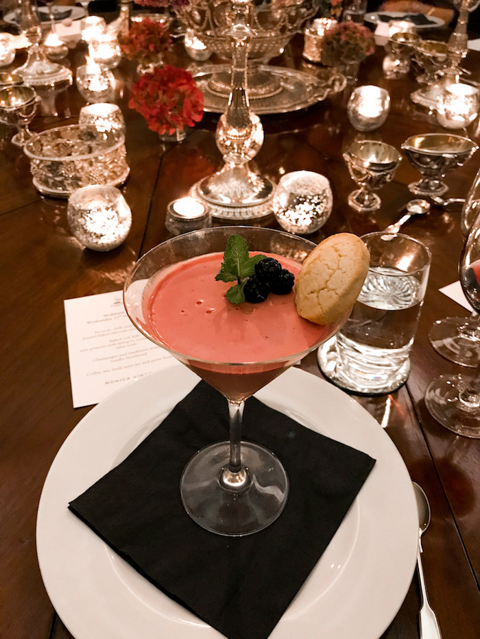 raspberry mousse in martini glass