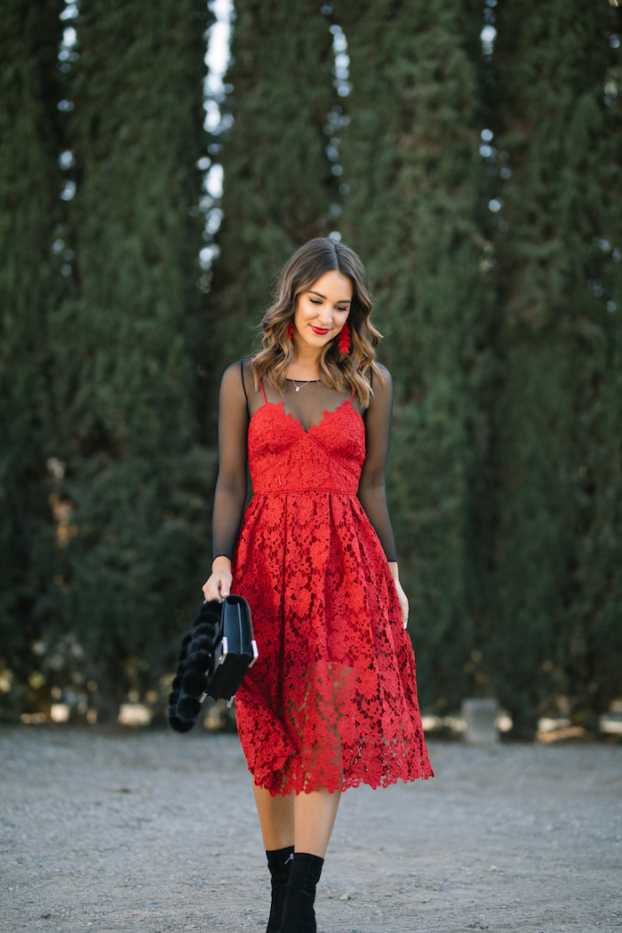 donna morgan red lace dress