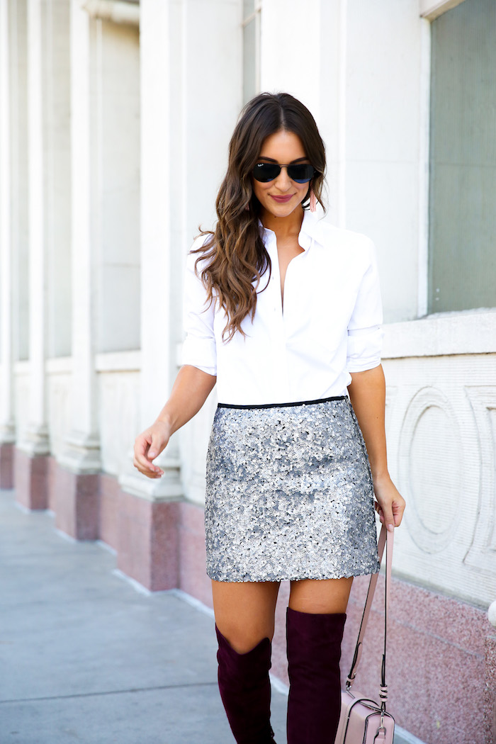 silver sequined mini skirt