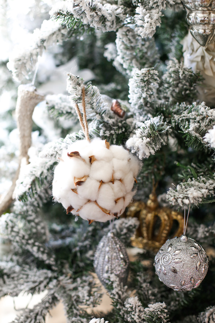 white cotton ornament
