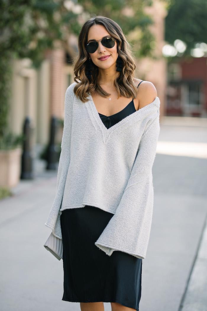543ed431a50 ... dress gray bell sleeved sweater brunette lob ...