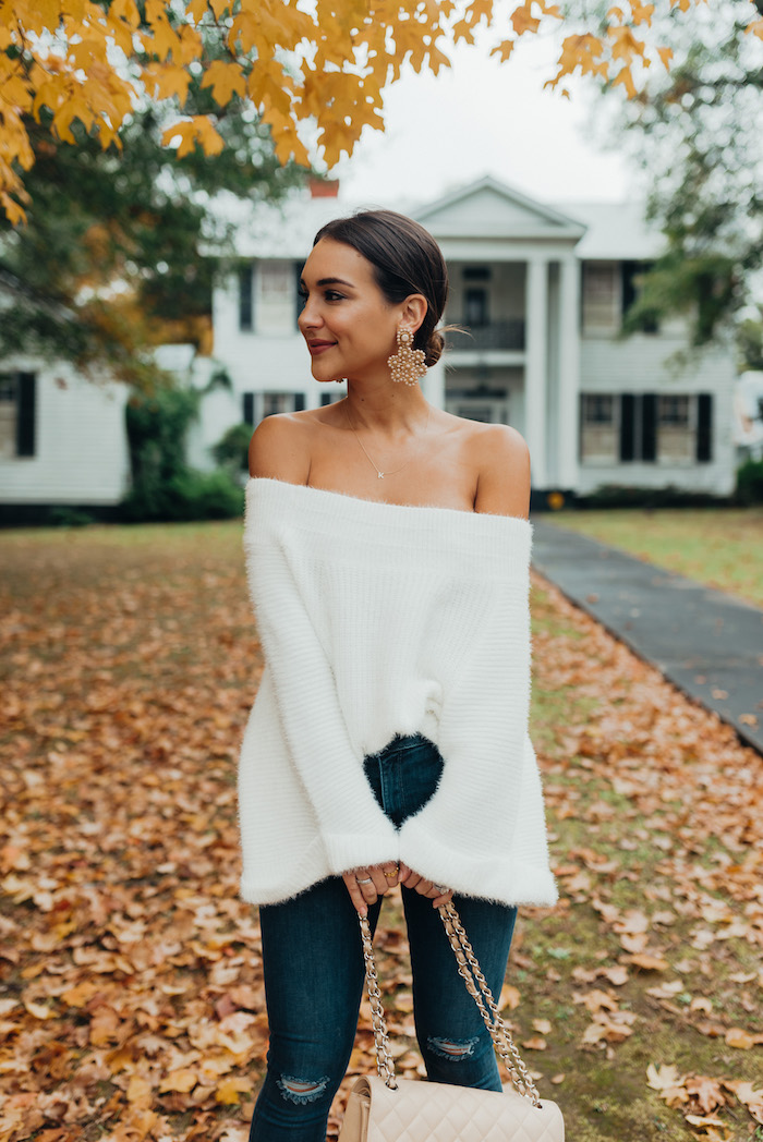 2e7644d255e lisi lerch vivi earrings · white off the shoulder sweater