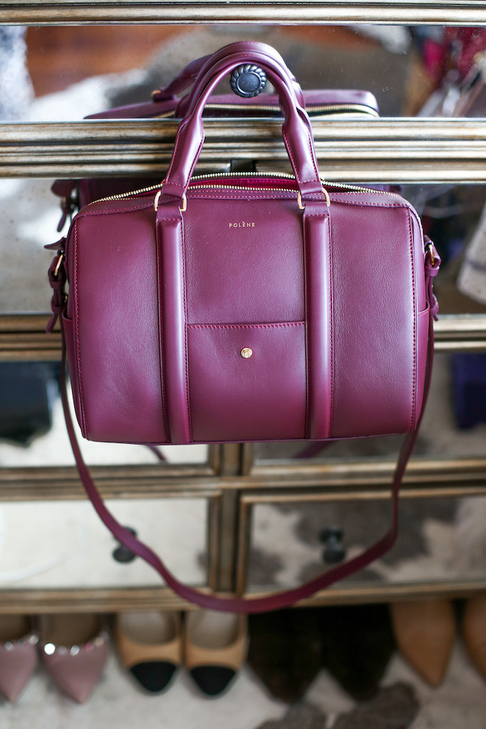 burgandy satchel bag