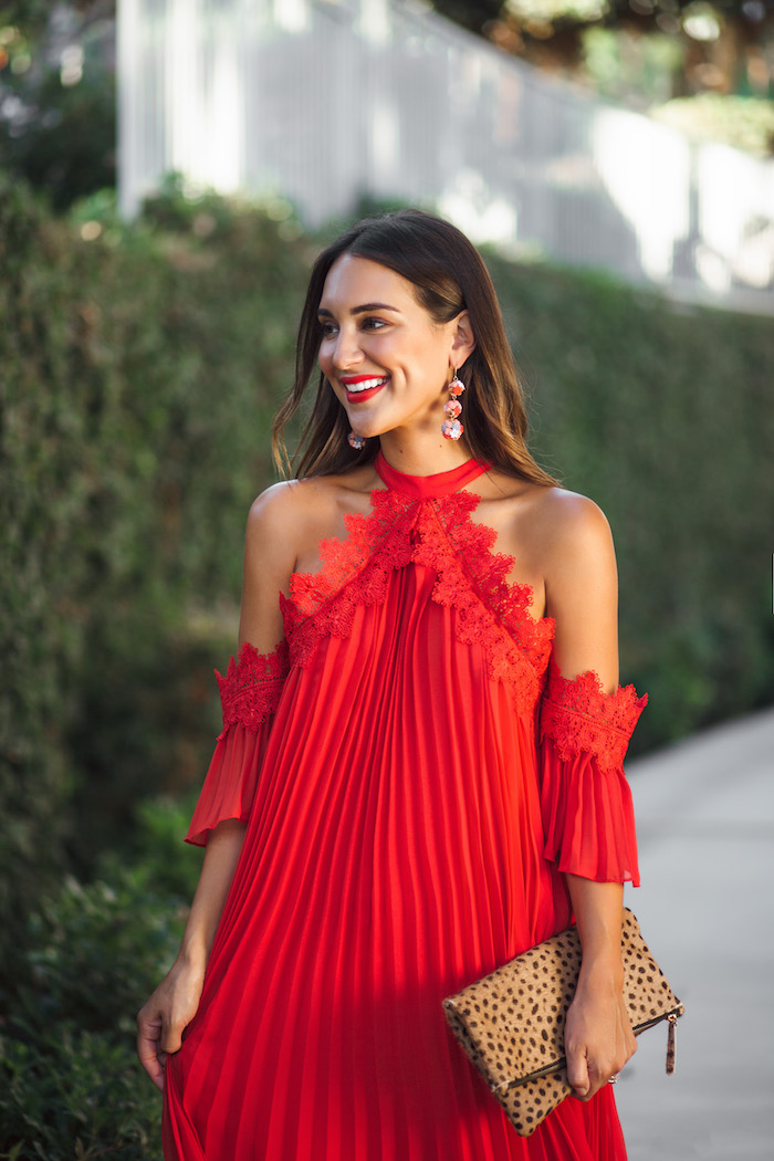 red pleated midi dress