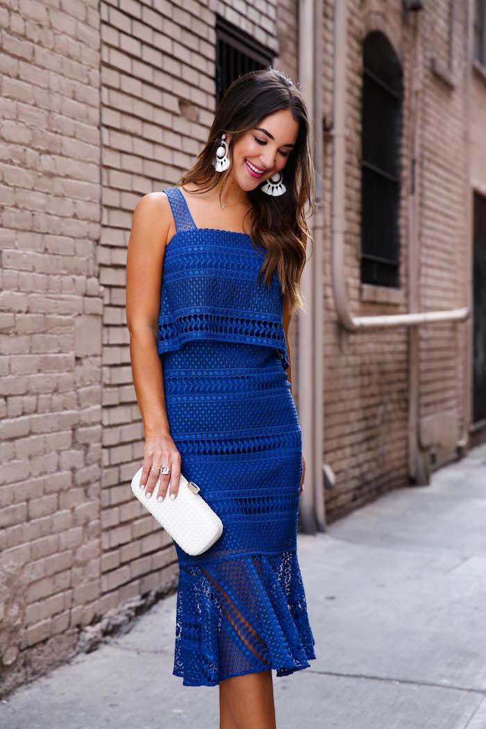 blue crochet dress