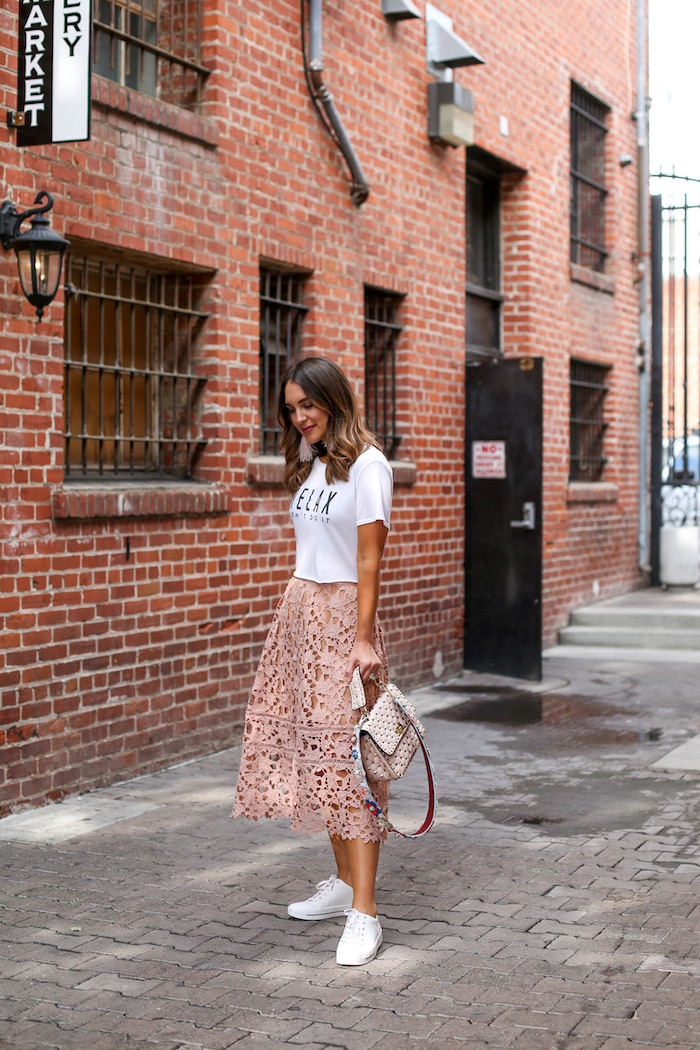 blush lace midi skirt