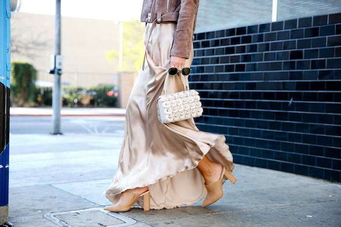 white tee with slip dress