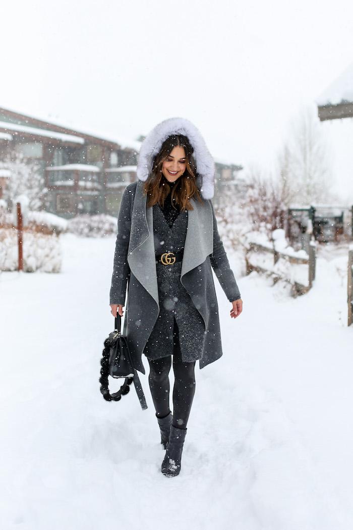 gray fur hood coat