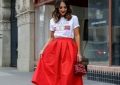 red ball skirt