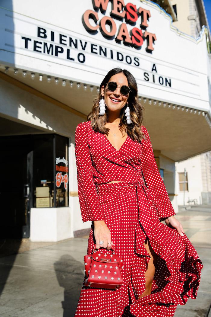 red polka dot top and skirt set