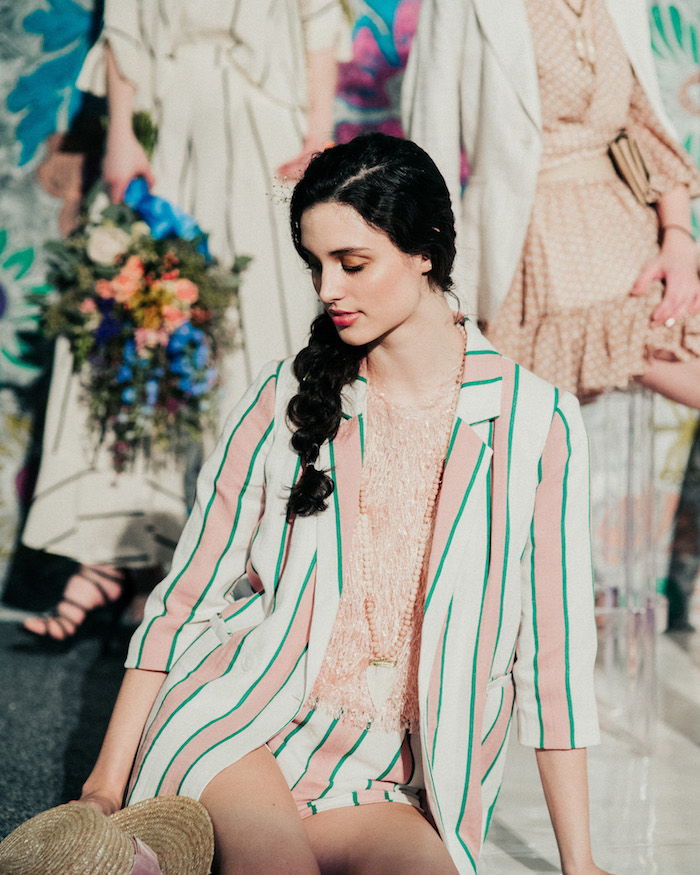 pink and green striped suit