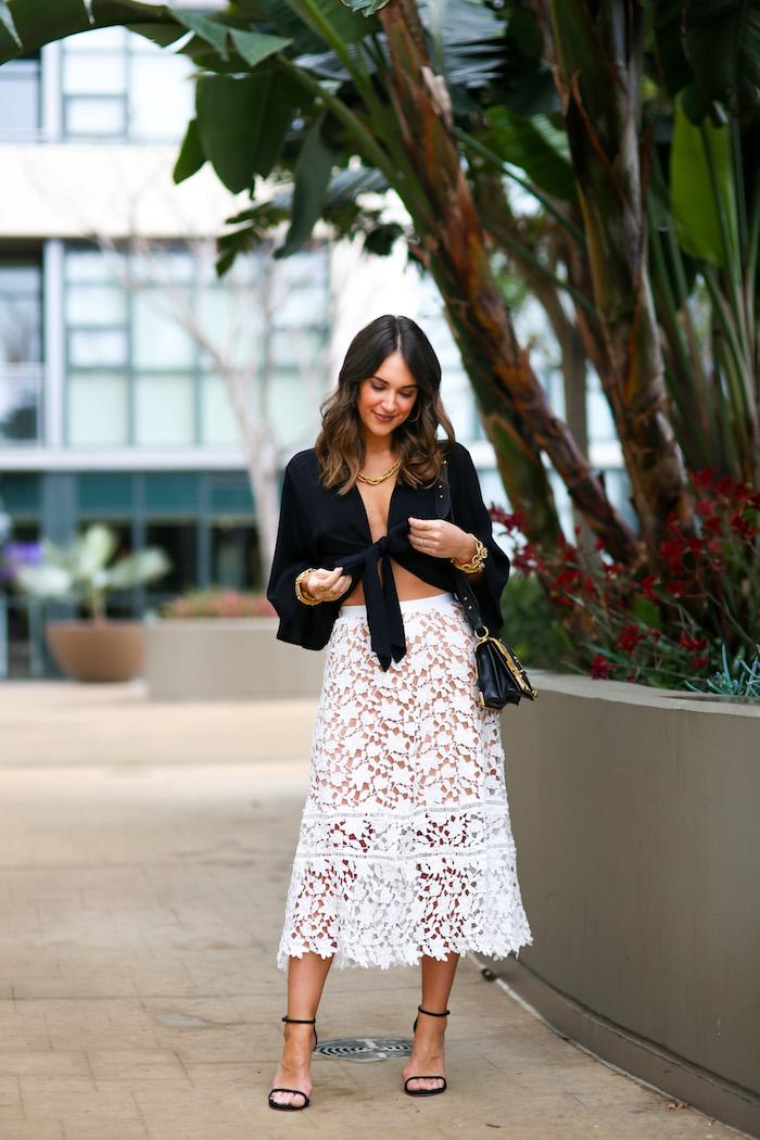 white lace midi skirt