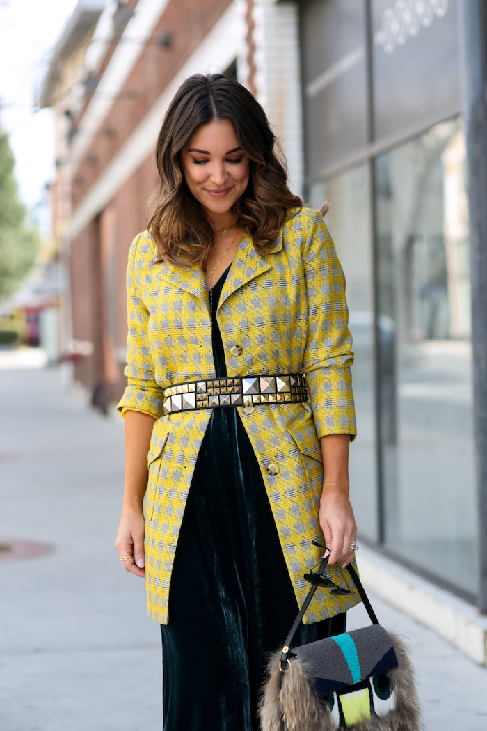 yellow houndstooth blazer