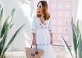 plunging neck white dress