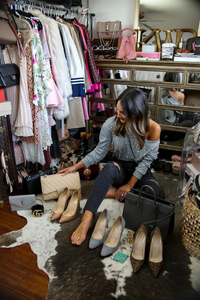 b90c3fab489a olivia culpo marled pigalle heels chanel jumbo handbag