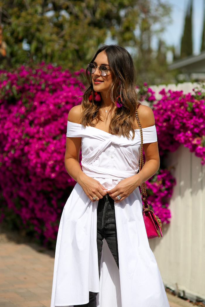 white off the shoulder shirt dress