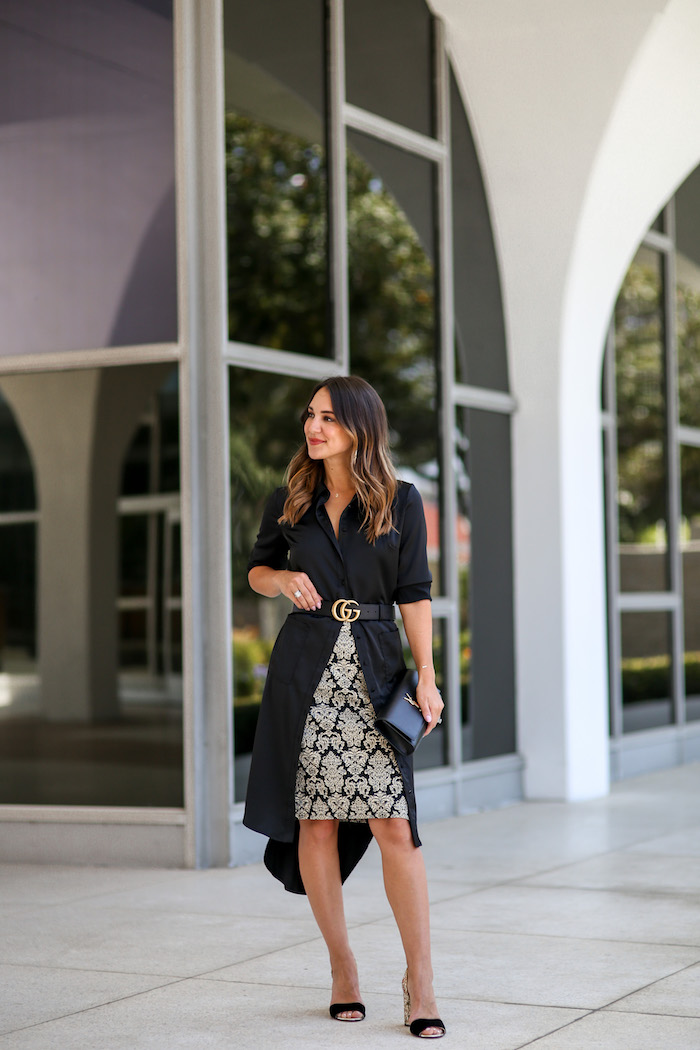 black and gold brocade skirt