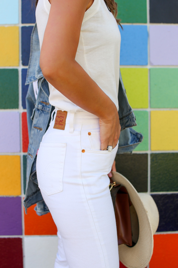 white levis denim