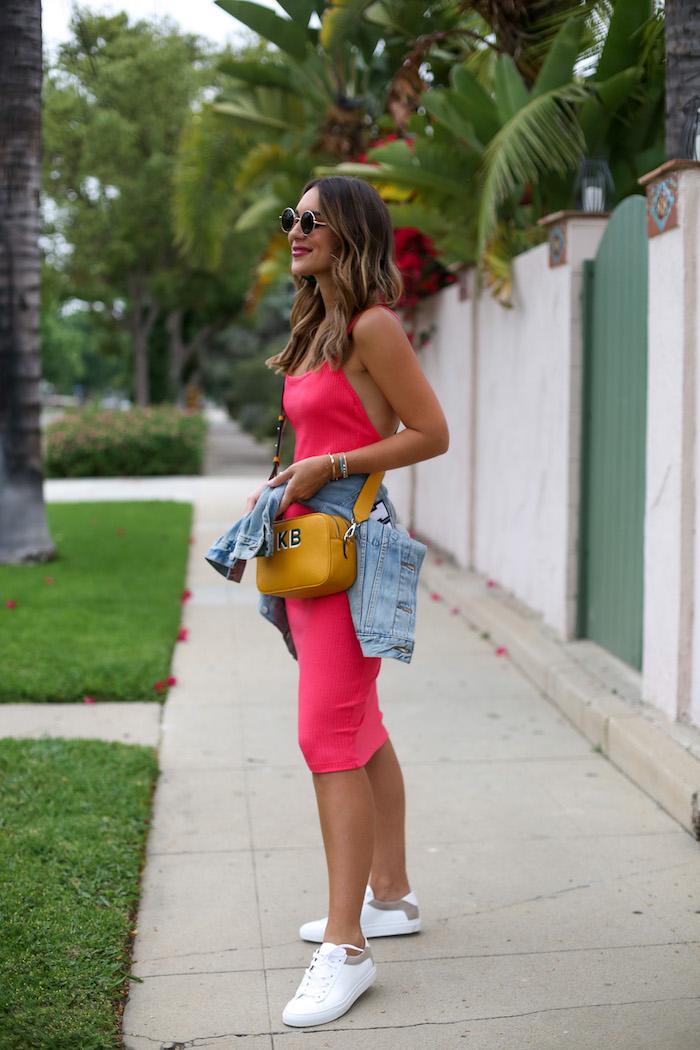 coral ribbed midi dress