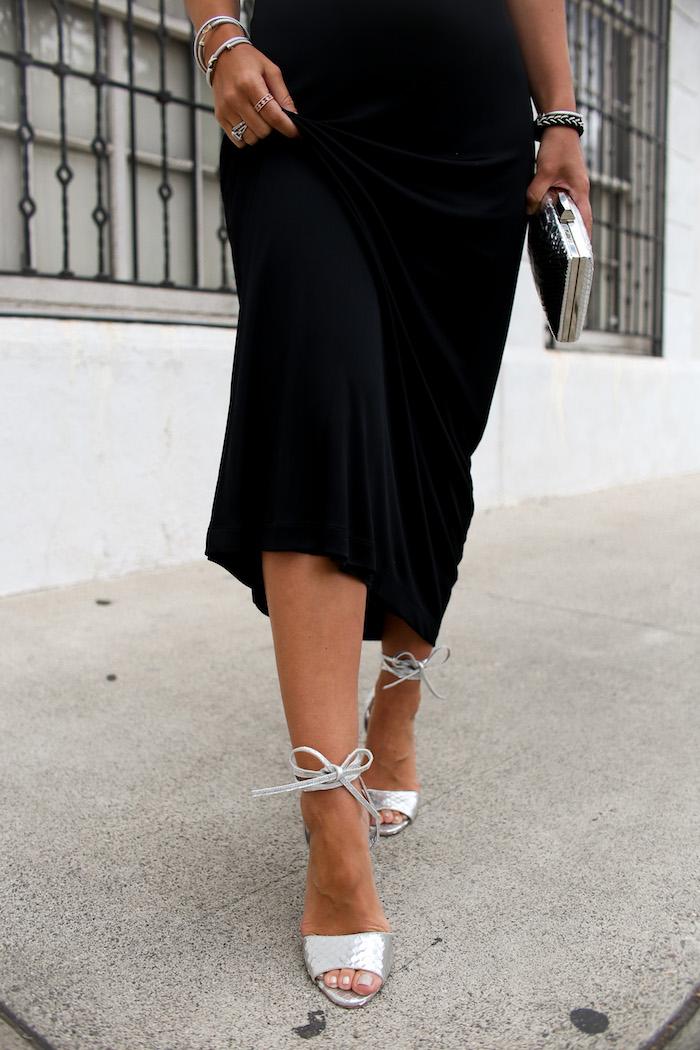 silver ankle wrap heels
