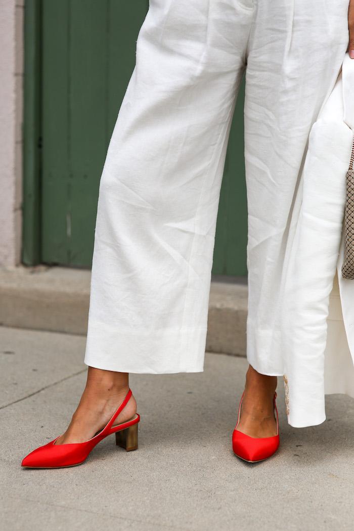 red sling heels