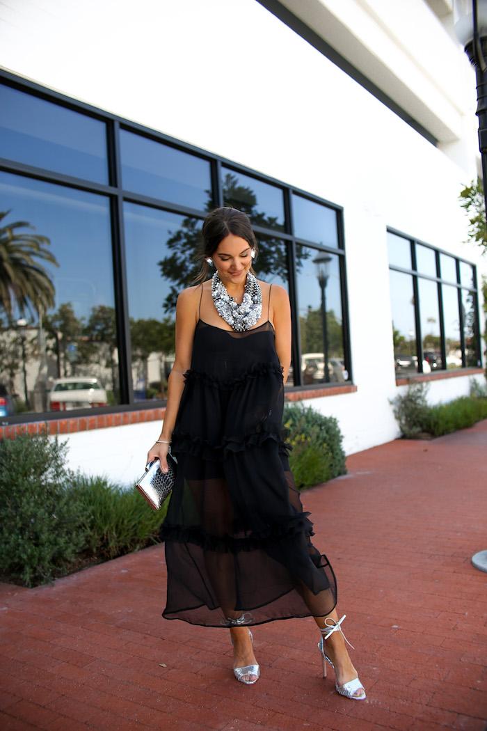 ruffled sheer dress