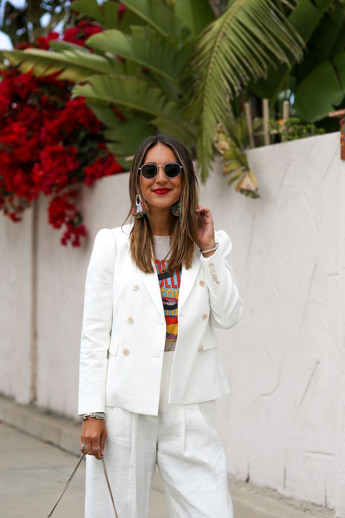white stretch linen blazer
