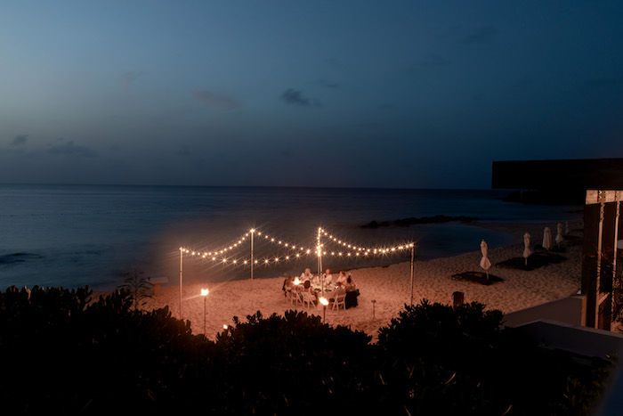 bistro lights on the beach