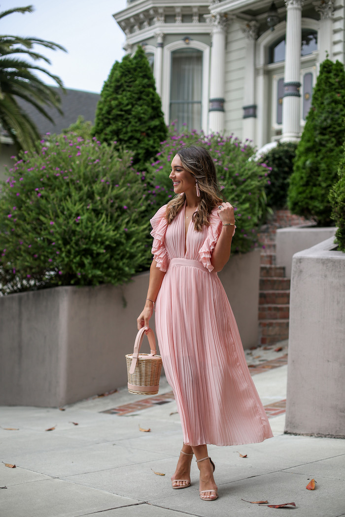pink pleated midi dress