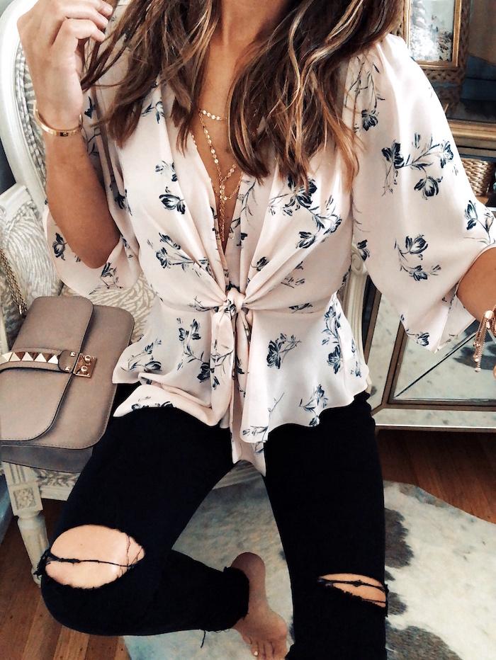 pink vneck blouse
