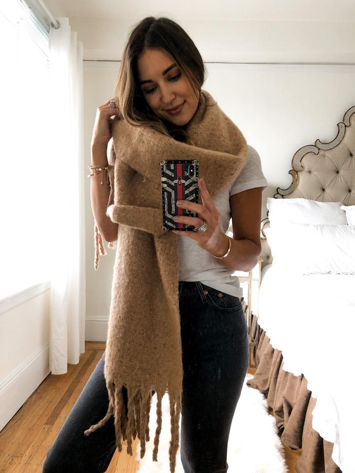 camel fringe scarf