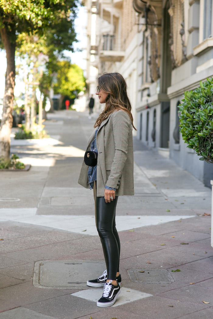 styling faux leather leggings