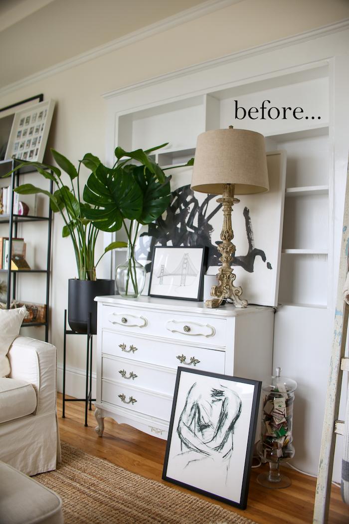 how to hang art on bookshelves